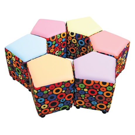 Squexagon Set of 6 Accent Fabric