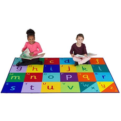 Large Alphabet colourful rectangular rug