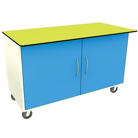 Mobile Rectangular Workbench with cupboard underne