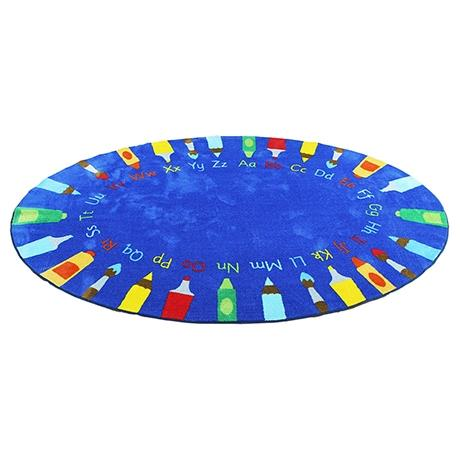 Oval shaped rug with pencils design