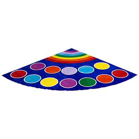 Quarter circle rug with colourful spots