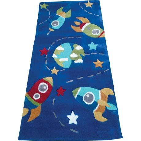 Plush rectangular rug with a space theme