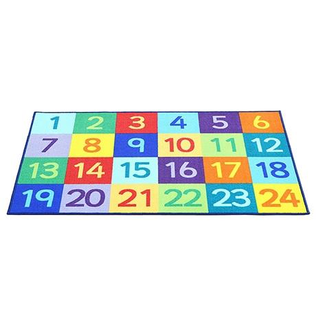 Colourful rug with a numbers design