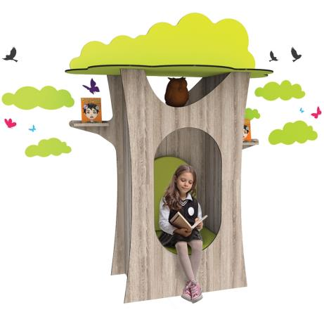 Tree-shaped den for libraries and classrooms