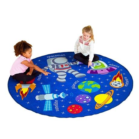 Colourful circular rug with a space design