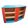 Wiggle Double Shelving Unit mobile bookcase on cas