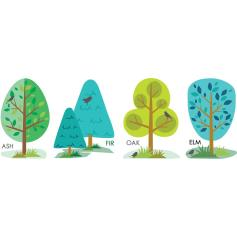 Funky Forest Tree Stickers - set of four