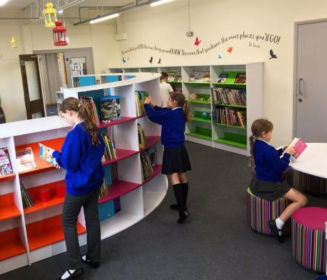 Inkersall library curved shelves